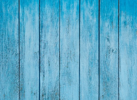 Old painted blue wood fence - texture or background Archivio Fotografico
