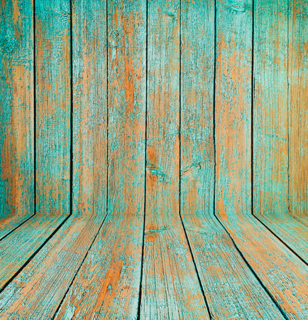 wood floor: Old wooden room interior, green empty background with space for your text or design