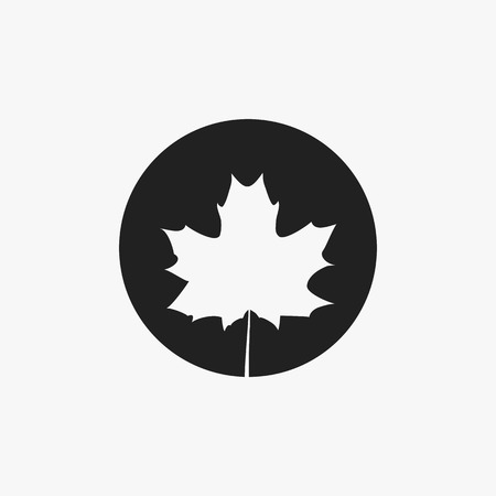Maple leaf silhouette on a contrast black background.