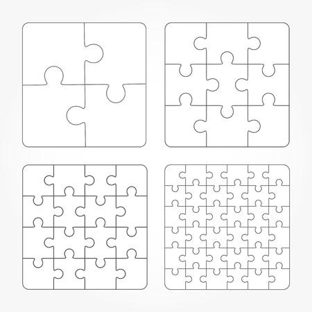 jigsaw set: Jigsaw puzzle four vector templates set, blank simple pieces Illustration