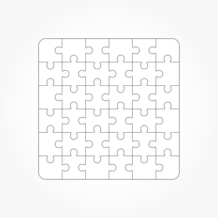 36 6: Jigsaw puzzle vector, blank simple templates, 36 pieces