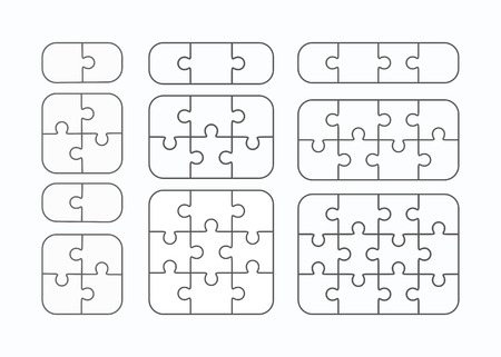 Jigsaw puzzle vector templates set of different blank simple pieces Ilustracja