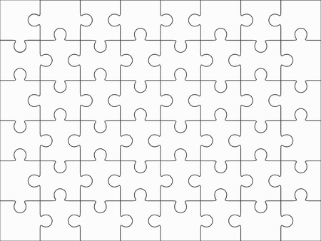 Jigsaw puzzle blank template 6x8 elements, fourty-eight puzzle pieces. Vector illustration. 矢量图像