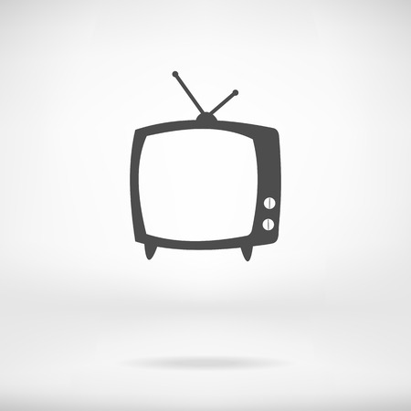 tv icon: TV icon flat simple symbol in interiorr. Vector illustration