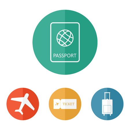 Travel icons flat vector: passport, plane, ticket, luggage bag