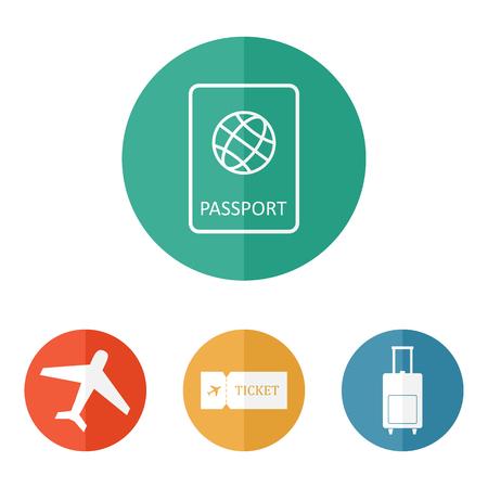 luggage bag: Travel icons flat vector: passport, plane, ticket, luggage bag