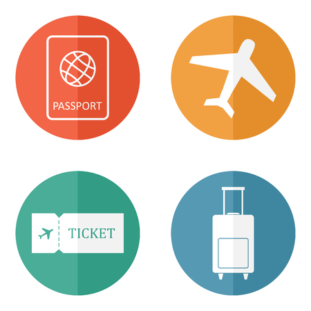 Travel icons flat vector set: passport, plane, ticket and luggage bag