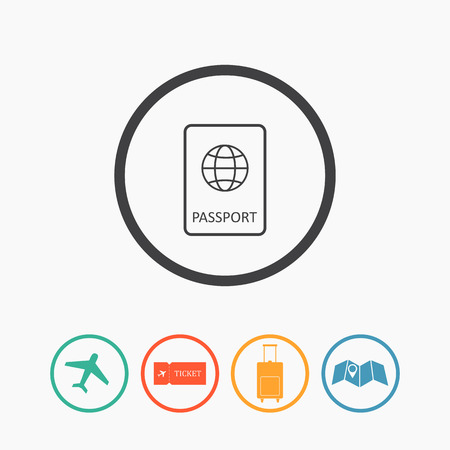 luggage bag: Travel icons flat vector set: passport, plane, ticket, map pointer and luggage bag