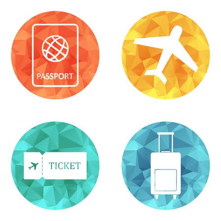 luggage bag: Travel icons flat vector set: passport, plane, ticket and luggage bag