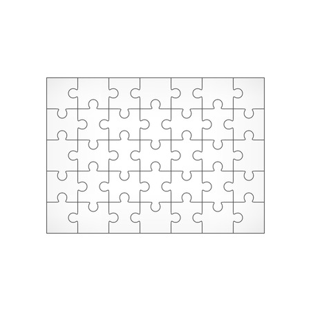 Jigsaw Puzzle Blank Template 7x5 Elements, Thirty-five Puzzle ...