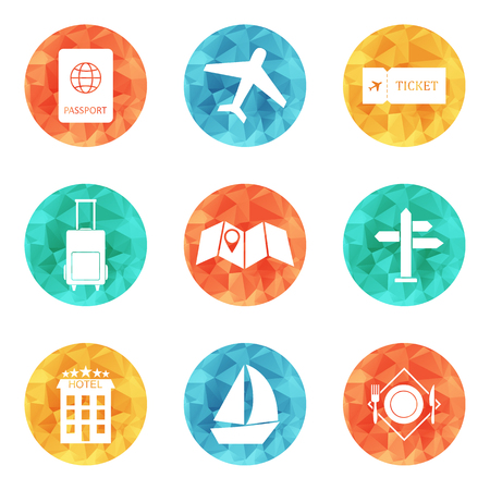 dinner cruise: Travel icons flat colored vector set. EPS 10 Illustration