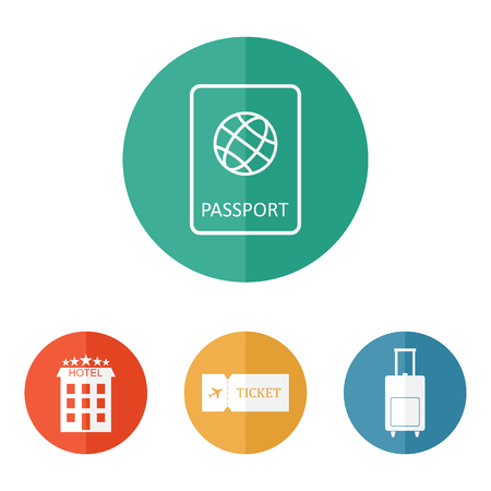 luggage bag: Travel icons flat vector: passport, hotel, ticket and luggage bag