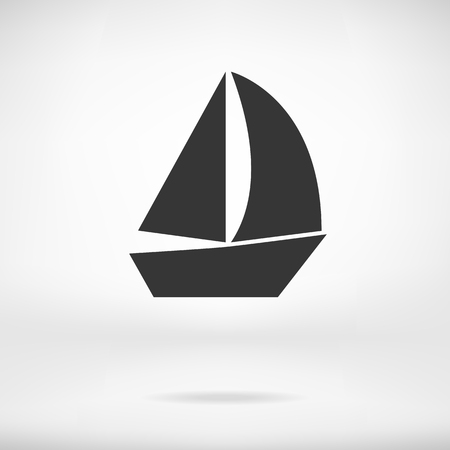 ship sign: Sail Boat icon vector isolated, flat ship sign Illustration
