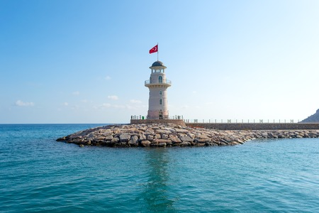 Old lighthouse in the Mediterranean sea of Turkey