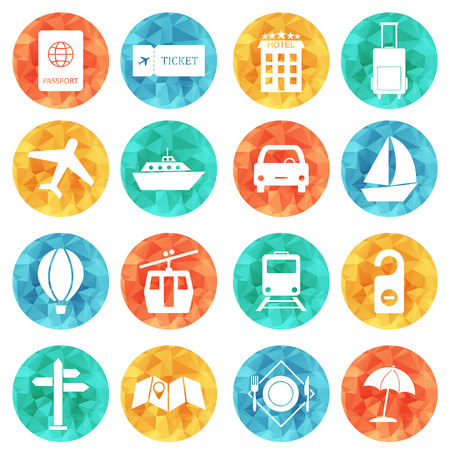 airbus: Travel and tourism icons flat colored vector set.