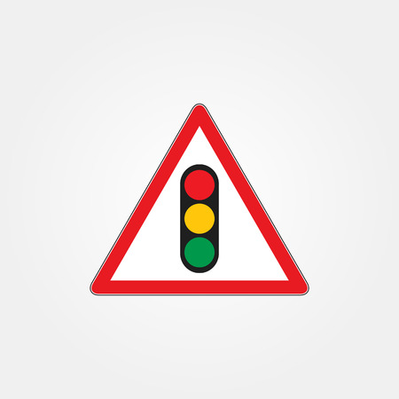 forewarn: Traffic light icon, semaphore vector on red triangle road sign.