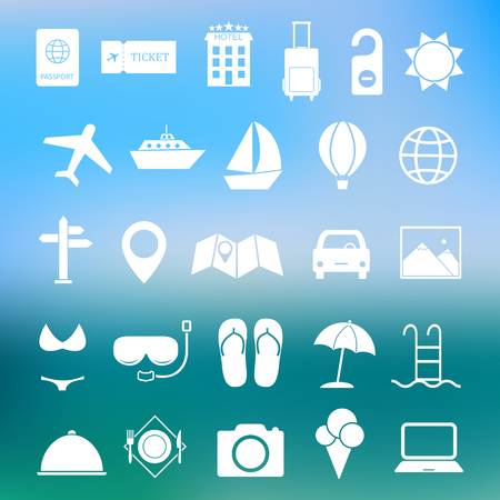 travel destination: Simple summer and travel icon set vector