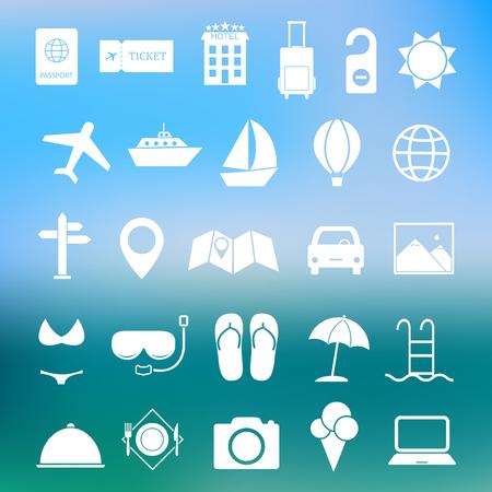 Verano simple y viajes icono conjunto de vectores Foto de archivo - 49812048