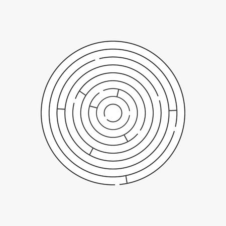 complex: Complex circle maze labyrinth. Linear vector puzzle Illustration