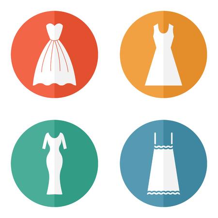 tunic: Woman dress icons. Elegant female dress vector Illustration