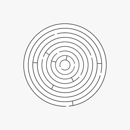 Complex circle maze labyrinth. Linear vector puzzle Ilustracja
