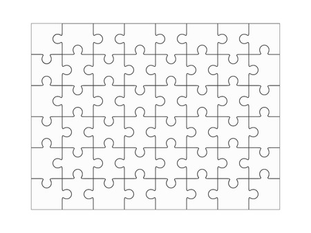 48: Jigsaw puzzle blank template 6x8 elements, fourty-eight puzzle pieces. Vector illustration. Illustration