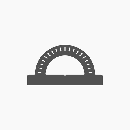 protractor: Stationery protractor icon vector. Tools for school. Illustration