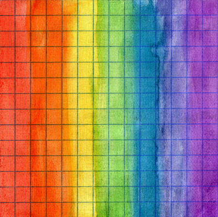 math paper: Abstract colorful striped rainbow watercolor background on math paper Stock Photo