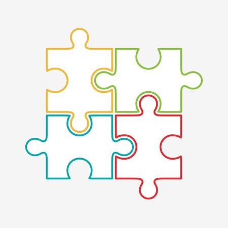 piezas de rompecabezas: Cuatro rompecabezas de piezas de colores Ilustración, aislado sobre fondo blanco. Vectores