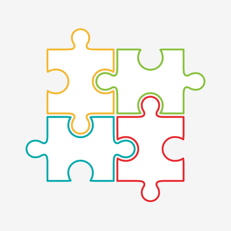 puzzles pieces: Four puzzle colored pieces illustration, isolated on white background.