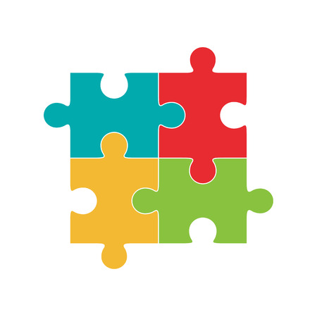 Four puzzle colored pieces illustration, isolated on white background.
