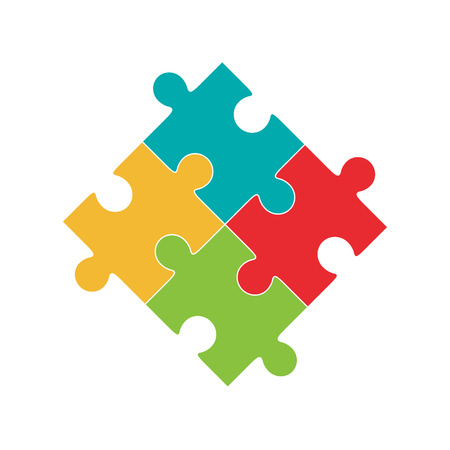 Colorful puzzle, four pieces isolated Çizim