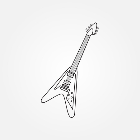funk: Silhouette of an electric bass guitar on white background
