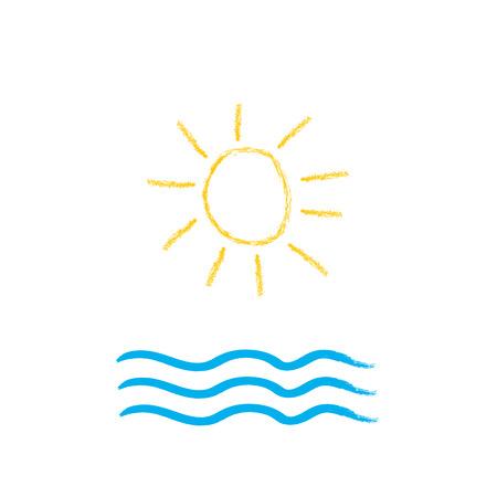 Sun and sea brush stroke vector illustration