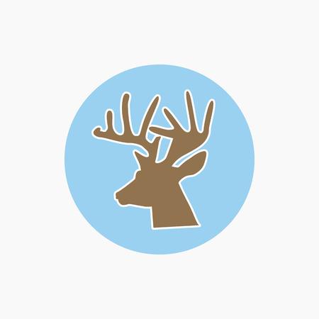 Deer head icon - vector illustration, wild nature symbol Illustration
