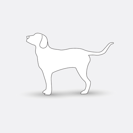 beg: silhouette of a dog on a white background. Illustration