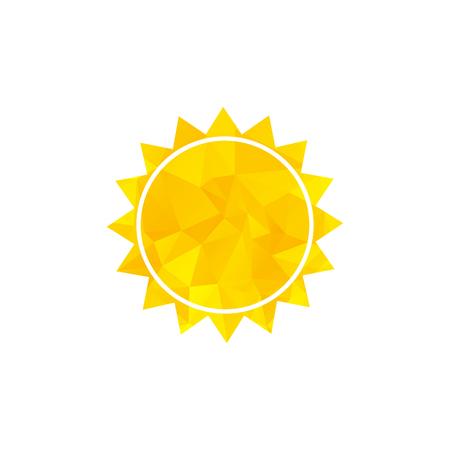 Yellow sun icon on white background. Weather icon