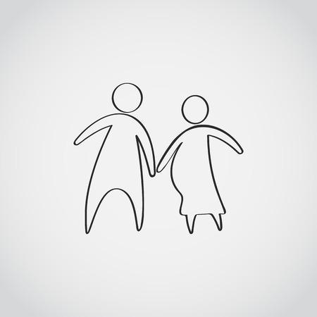 Family icon over white background Illustration