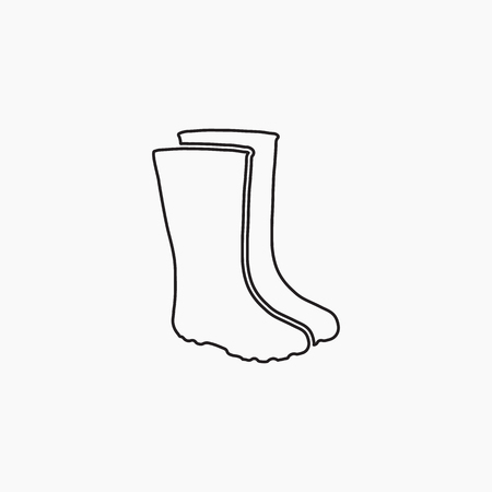 waterproof: Rubber boots icon. Waterproof shoes. Flat Vector illustration