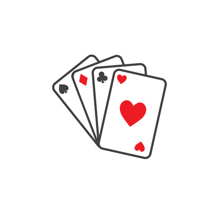 Playing cards icon. Outline illustration of playing cards vector icon for web