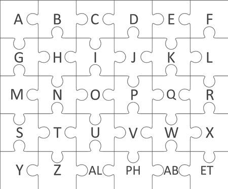 niño preescolar: rompecabezas de abecedario alfabeto. Vector.