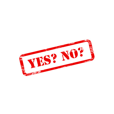 yes no: YES NO stamp sign text red. Illustration