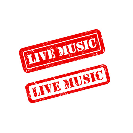 musik: LIVE MUSIC stamp sign text red.