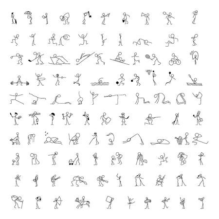 Cartoon icônes ensemble de 100 croquis peu gens bâton figure