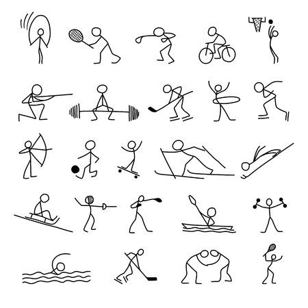 Iconos de dibujos animados deporte conjunto de figuras de palo boceto personas poco