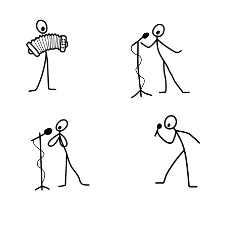white person: Cartoon icons set of sketch stick singer figures in cute miniature scenes.