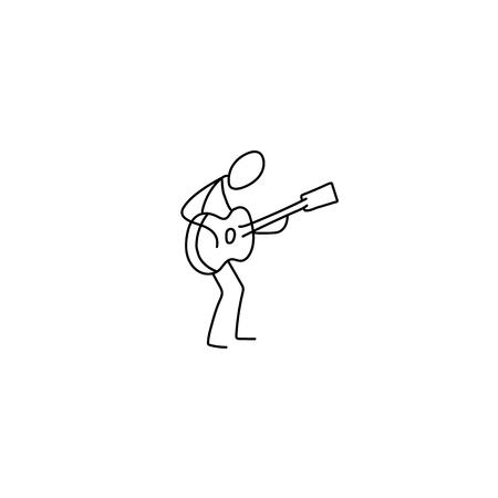man playing guitar: Stick figure man playing guitar vector. Musician and guitar Illustration
