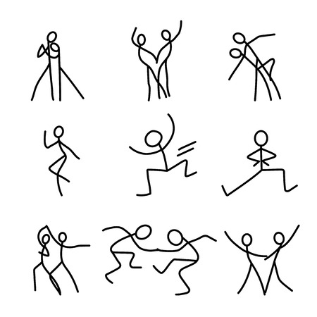 Cartoon icons set of sketch little dancing vector people in cute miniature scenes. Illustration