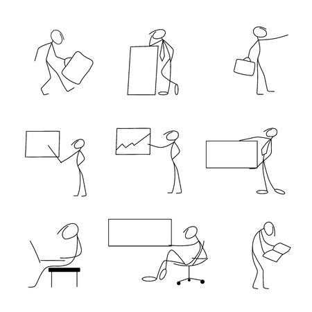 bisiness: Cartoon icons set of sketch stick bisiness figures in cute miniature scenes.