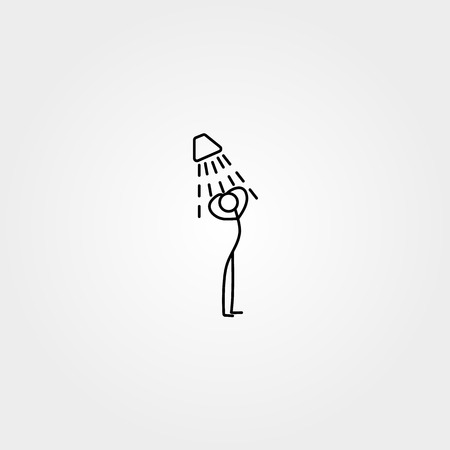 wash hand stand: Cartoon icon of sketch stick figure taking a shower Illustration